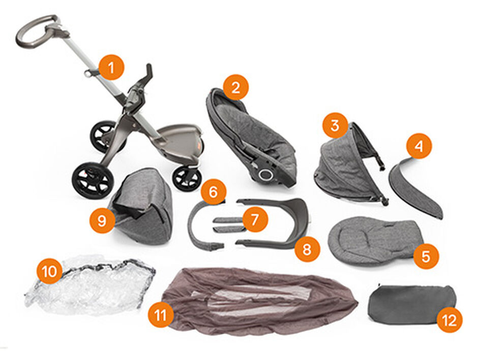 Stokke® Xplory® Black Melange. New wheels. Items included. view 1