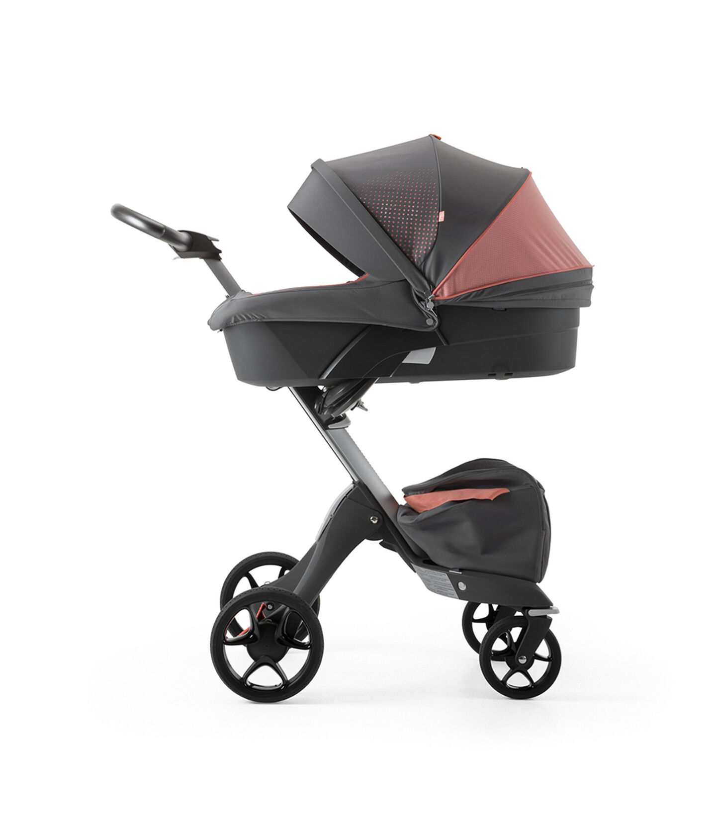 Stokke® Xplory® Silver Chassis and Carry Cot. Athleisure Coral.