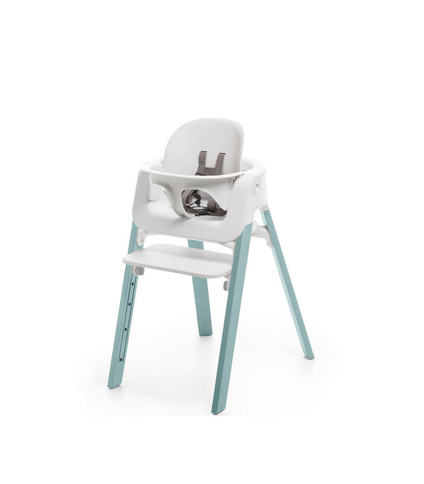 Stokke® Steps™ Aqua Blue chair with Baby Set White.