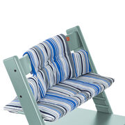 Tripp Trapp® Aqua Blue with Ocean Stripe cushion. Detail.