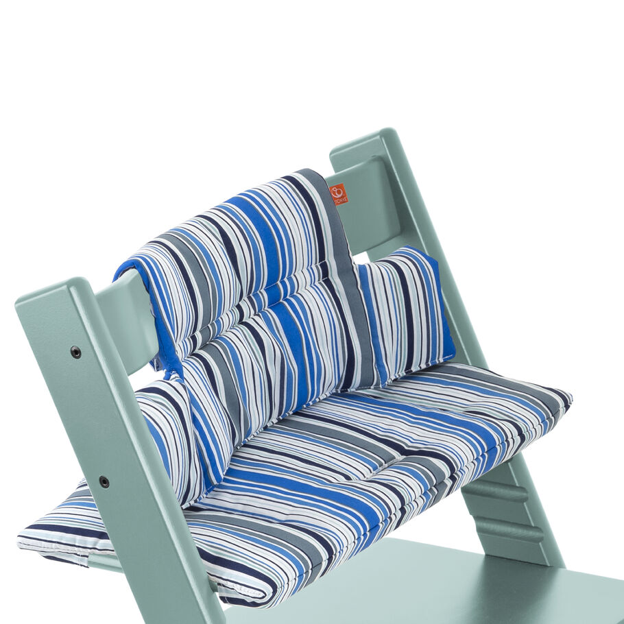 Tripp Trapp® Aqua Blue with Ocean Stripe cushion. Detail.