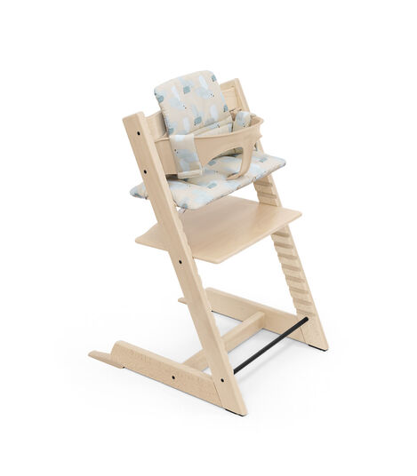 Tripp Trapp® High Chair Natural with Baby Set and Classic Cushion Birds Blue. view 8