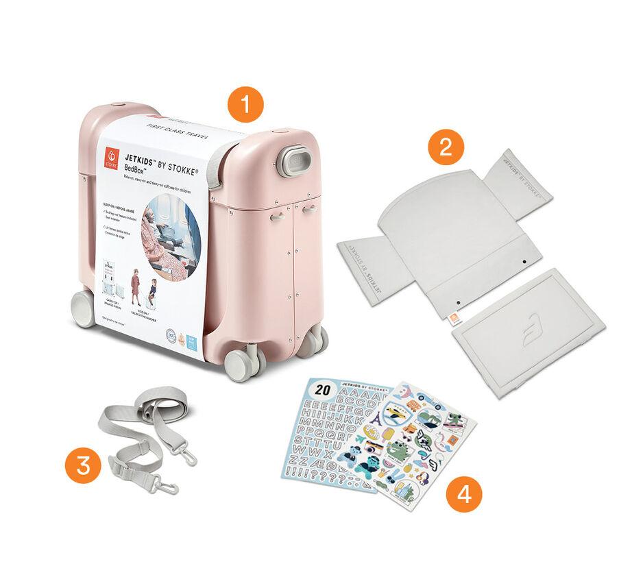 JetKids™ by Stokke® BedBox V3 in Pink Lemonade. End User Packaging.