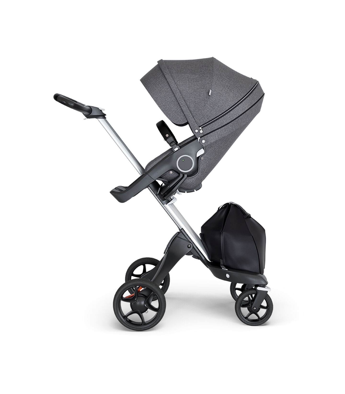 Stokke® Xplory® wtih Silver Chassis and Leatherette Black handle. Stokke® Stroller Seat Black Melange. view 2