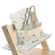 Tripp Trapp® Natural with Baby Set and Retro Cars cushion. US version. Detail.