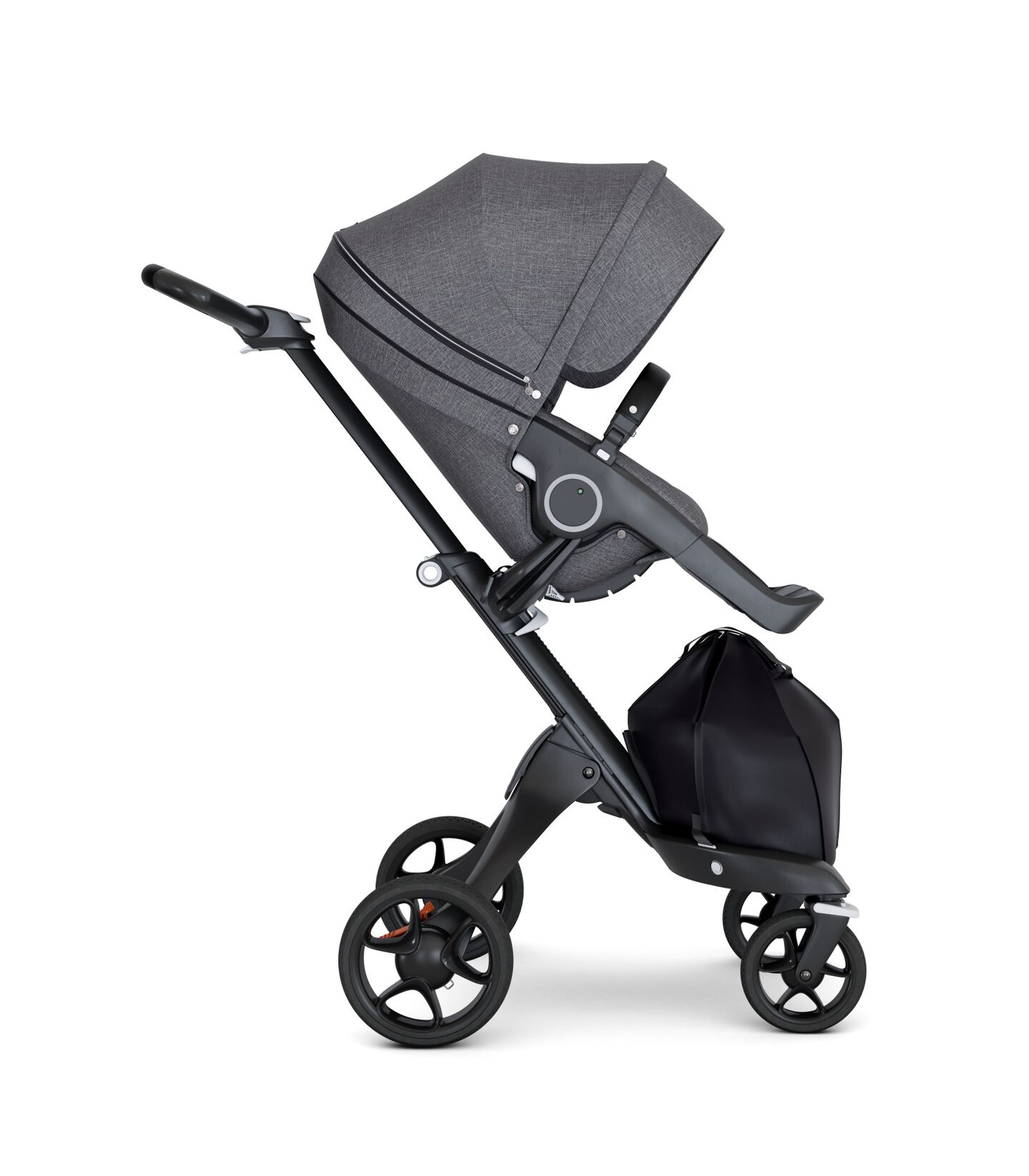 Stokke® Xplory® wtih Black Chassis and Leatherette Black handle. Stokke® Stroller Seat Seat Black Melange. Forward facing.