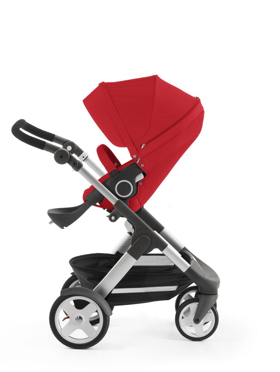 Stokke® Trailz™ with Stokke® Stroller Seat, Red. Classic Wheels.