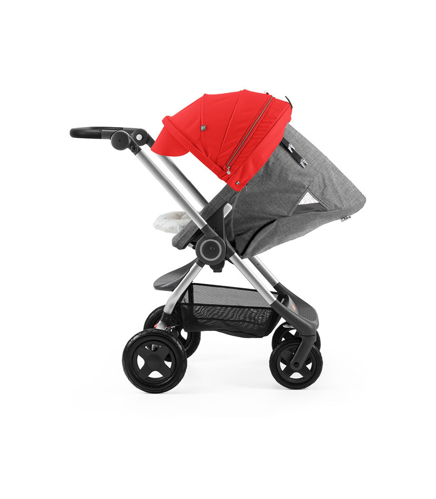 Stokke® Scoot™ with Black Melange seat and Red Canopy. Parent Facing. Sleep position.