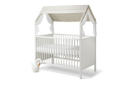 Stokke® Home™ Bed with Stokke® Home™ Bed Roof textile, Natural.