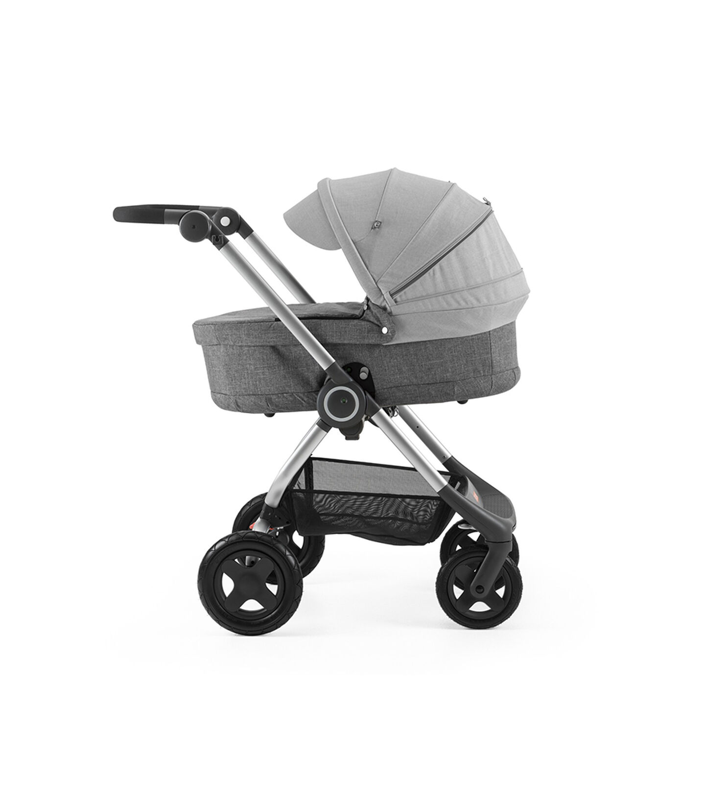 Stokke® Scoot™ with Carry Cot Black Melange and Grey Melange Canopy.