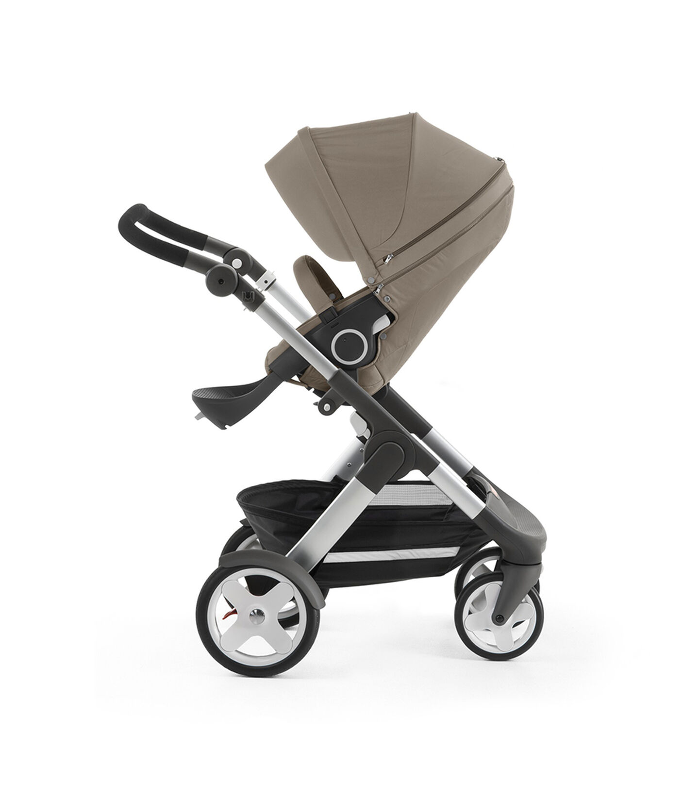 Stokke® Trailz™ with Stokke® Stroller Seat, Brown. Classic Wheels. view 2