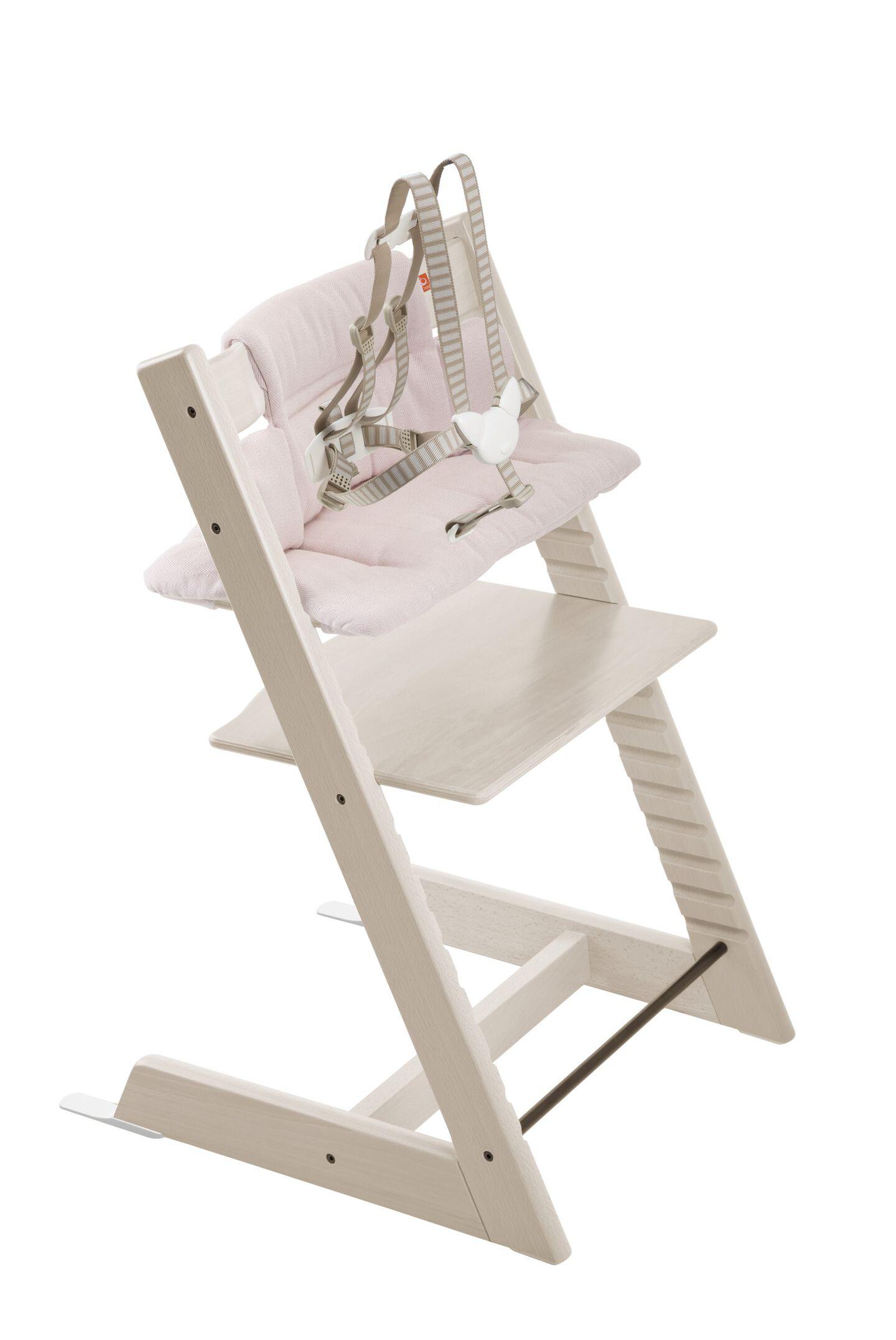 Tripp Trapp® Whitewash with Pink Tweed cushion.