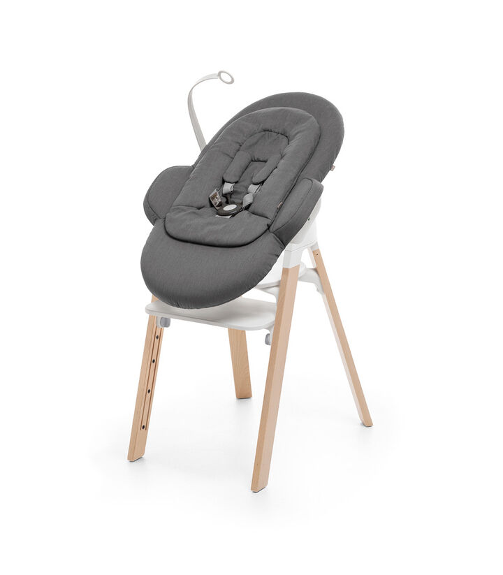 "Stokke® Steps"" Chair, Beech Natural, with Newborn Set Deep Grey. view 1"