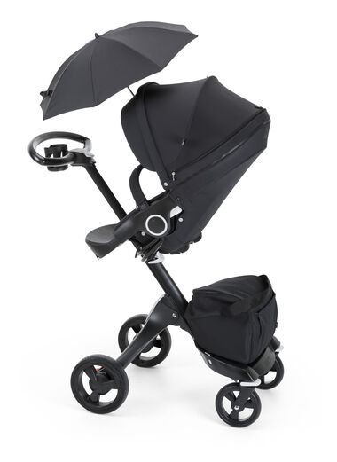 Stokke® Xplory® with Stokke® Stroller Seat and Parasol, True Black.