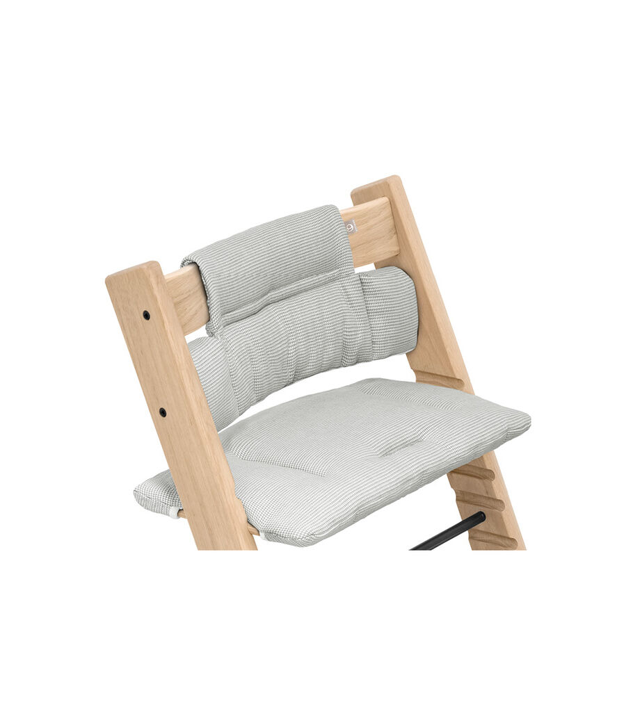 Tripp Trapp® chair Oak Natural, with Classic Cushion Nordic Grey. view 3