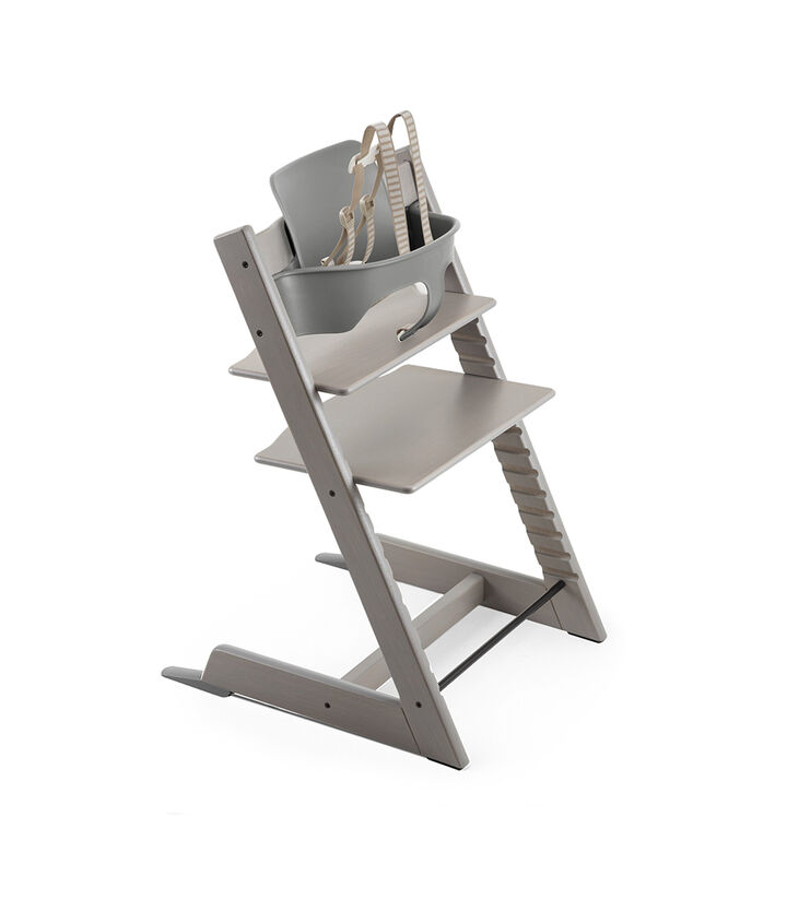 Tripp Trapp® Oak Greywash with Baby Set Storm Grey and Harness. Extended Glider, Storm Grey. US version.