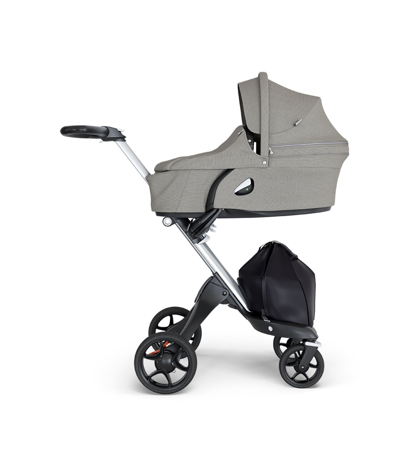 Stokke® Xplory® wtih Silver Chassis and Leatherette Black handle. Stokke® Stroller Seat Carry Cot Brushed Grey.