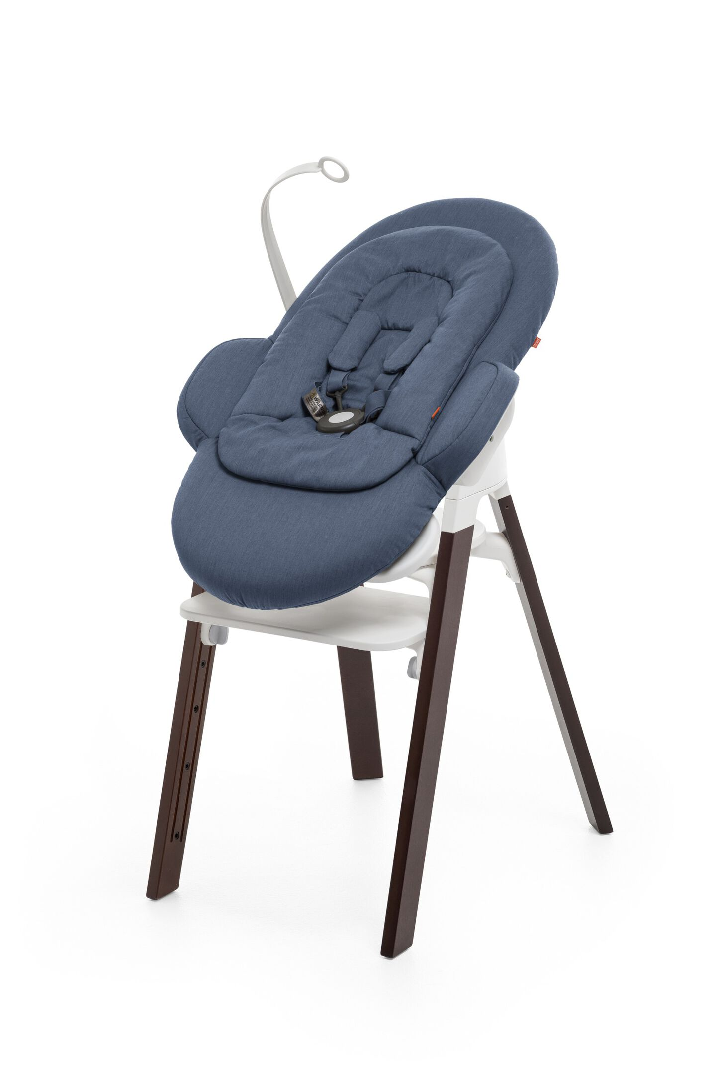 Bouncer, Blue. Mounted on Stokke Steps highchair.