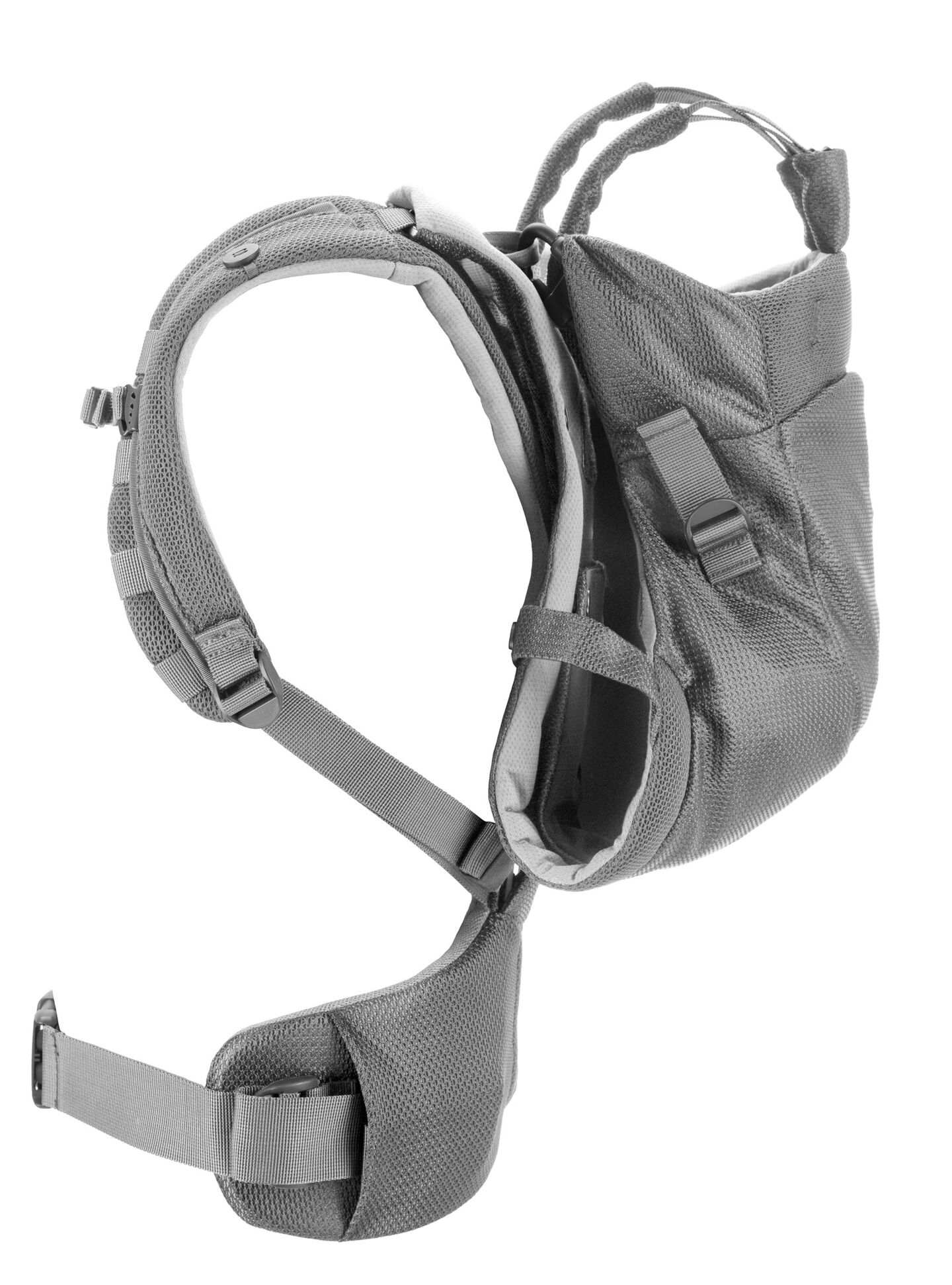 Stokke® MyCarrier™ Back Carrier Grey Mesh. Profile.