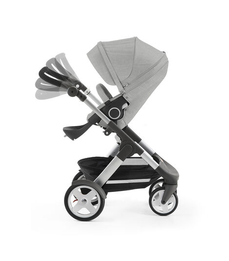 Stokke® Trailz™ with Stokke® Stroller Seat, Grey Melange. Classic Wheels. Handle positions. view 3
