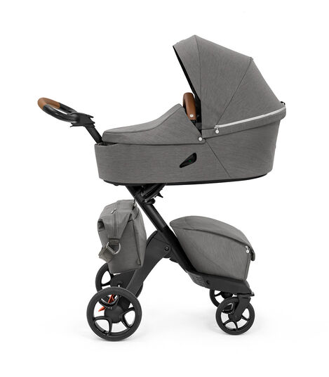 Stokke® Xplory® X Changing Bag Modern Grey on Stroller. Accessories. view 4