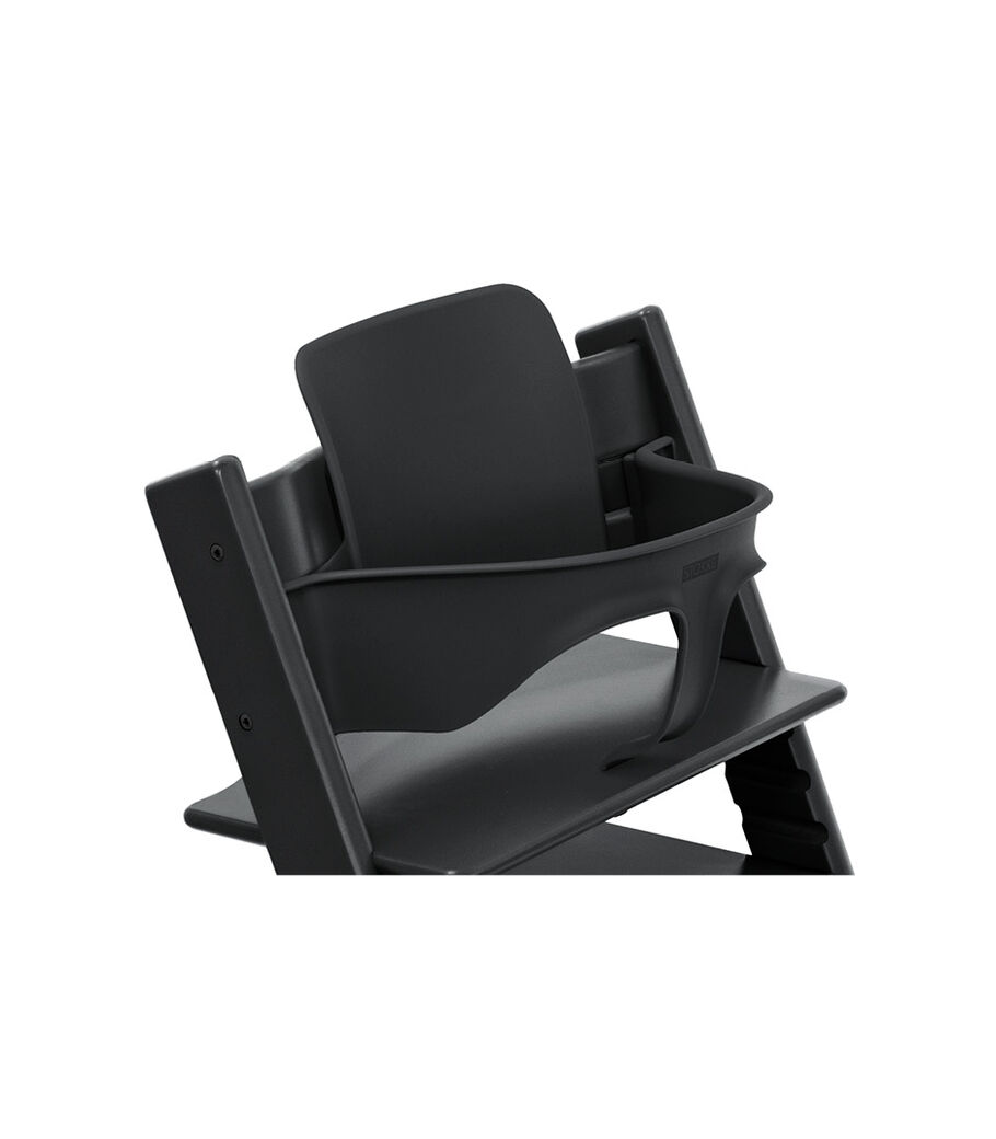 Tripp Trapp® Chair Black with Baby Set. Close-up.