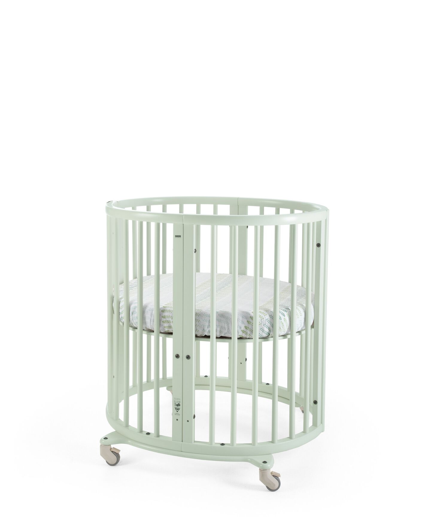 Stokke® Sleepi Mini, Beech Mint. Fitted Sheet, Aqua Straw.