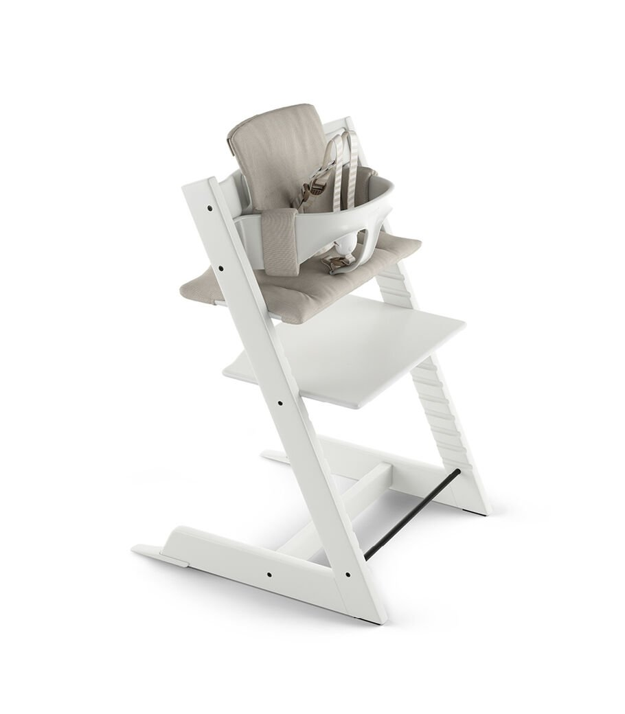 Tripp Trapp® White with Baby Set and Classic Cushion Timeless Grey.