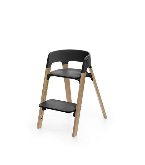 Stokke® Steps™ Chair Black Seat Oak Natural Legs, Oak Natural, mainview view 3