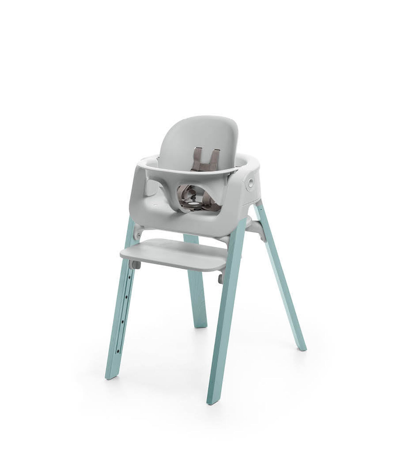 Stokke® Steps™ Aqua Blue chair with Baby Set Light Grey.