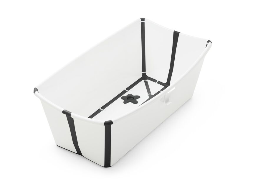 Stokke® Flexi Bath® bath tub, White & Black. Open.