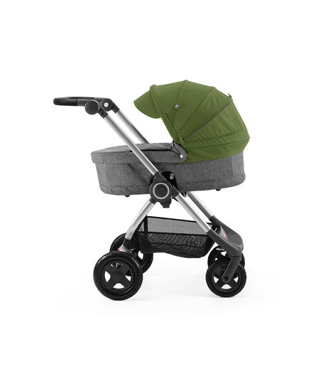 Stokke® Scoot™ with Carry Cot Black Melange and Green Canopy.