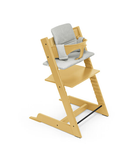 Tripp Trapp® High Chair (Beech wood) Sunflower Yellow with Baby Set and Classic Cushion Nordic Grey. view 5
