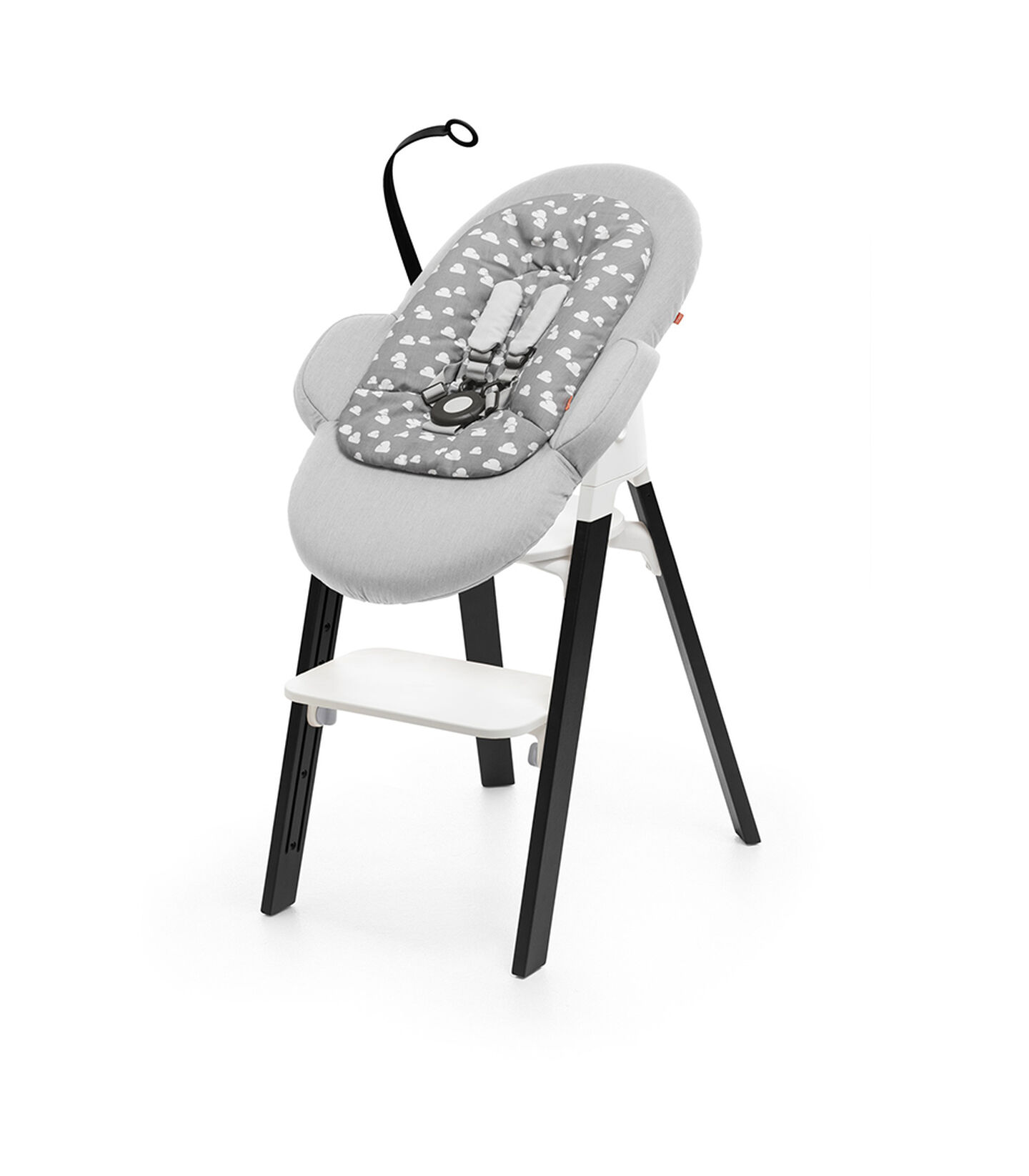 Stokke® Steps™ Chair Oak Black and Stokke® Steps™ Bouncer with Newborn Insert, Grey.