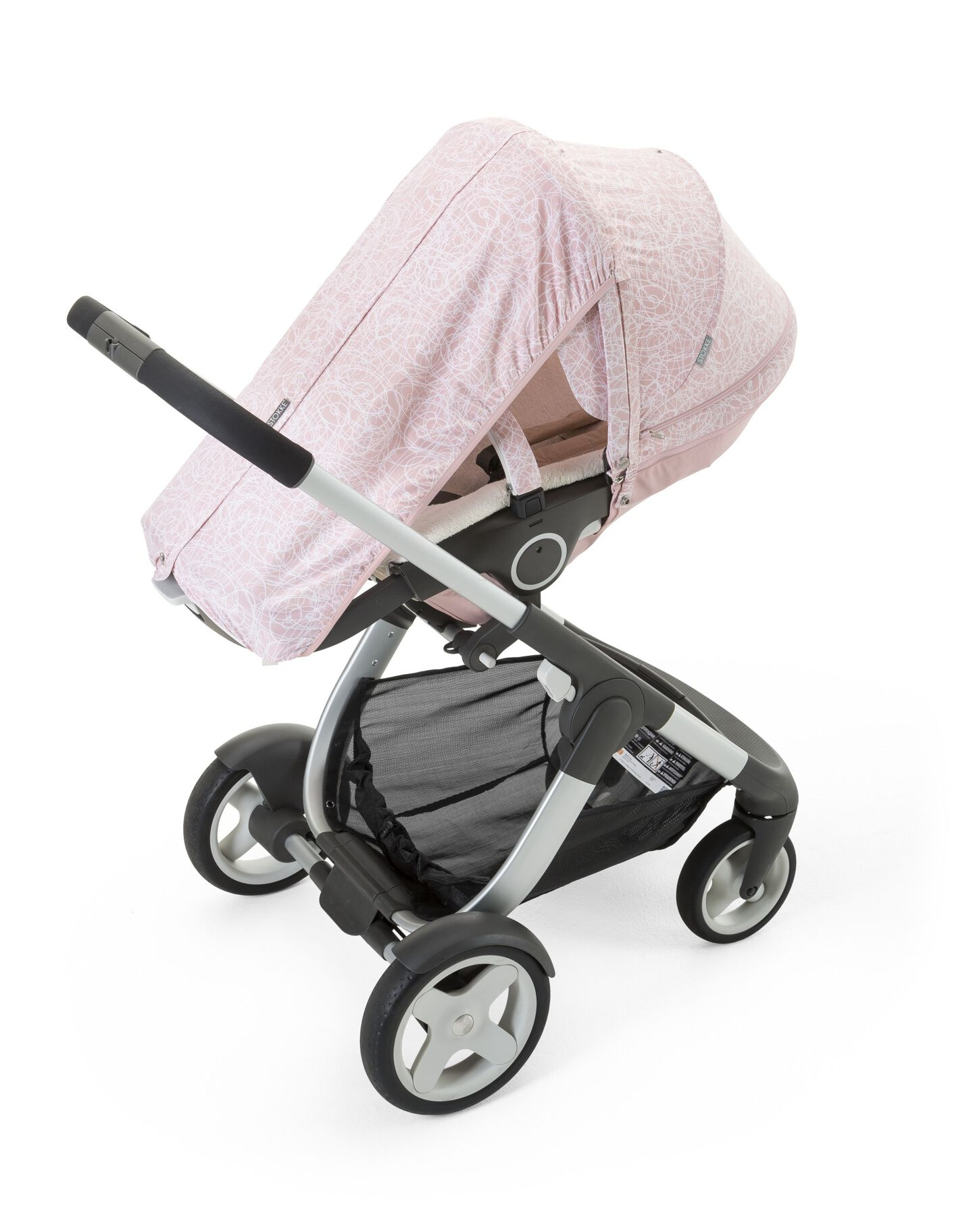 Stokke® Crusi™ with Stokke® Stroller Summer Kit Scribble Faded Pink.