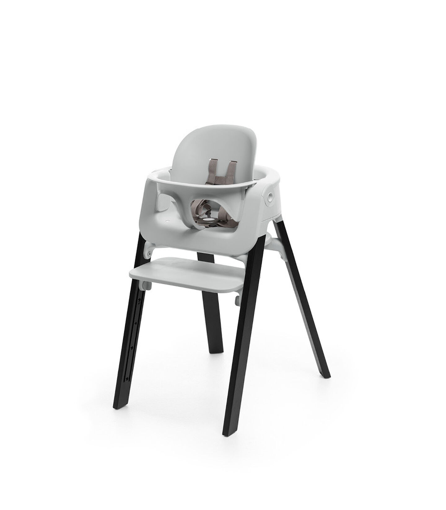 Stokke® Steps™ Oak Black chair with Baby Set Light Grey.