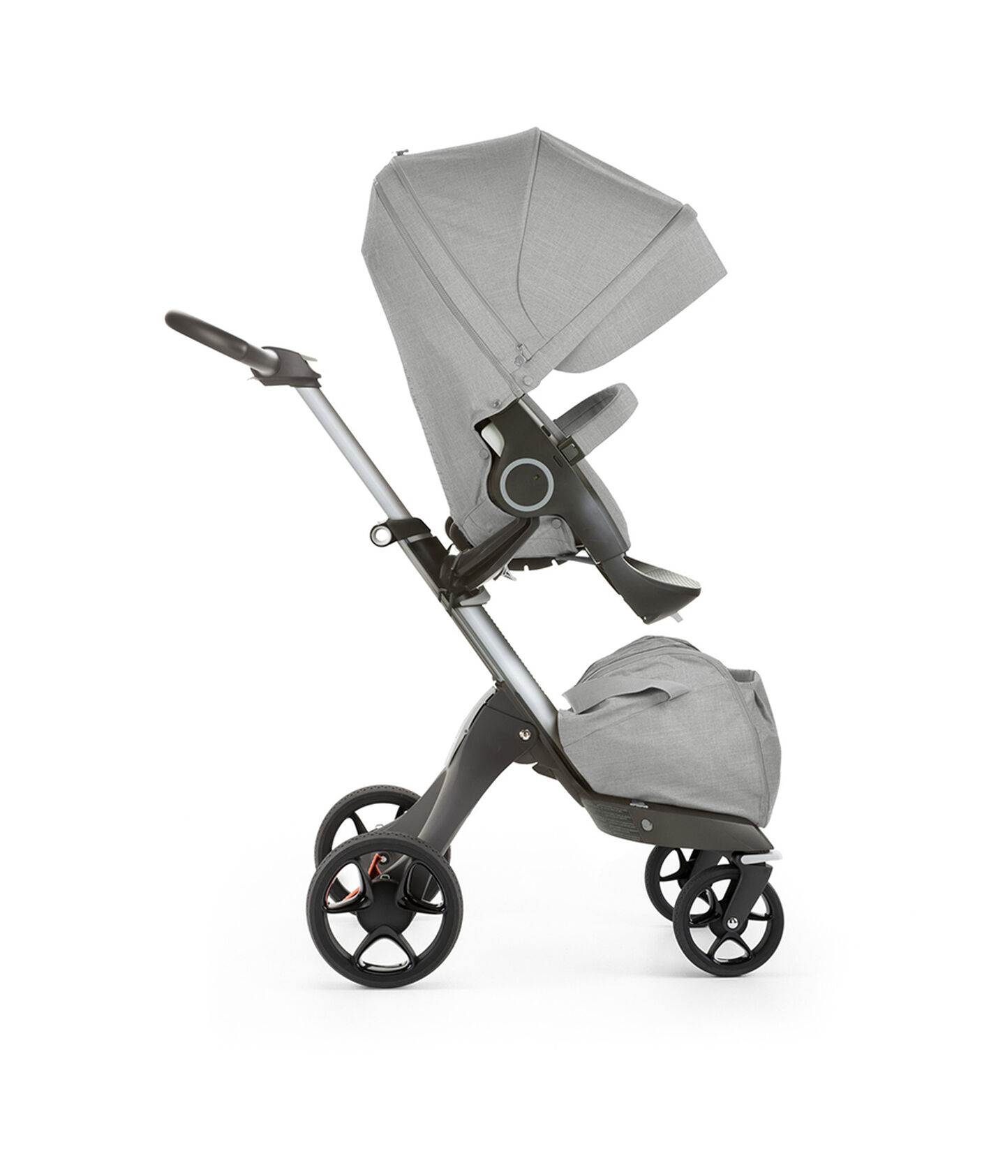 Stokke® Xplory® with Stokke® Stroller Seat, forward facing, active position. Grey Melange. New wheels 2016.