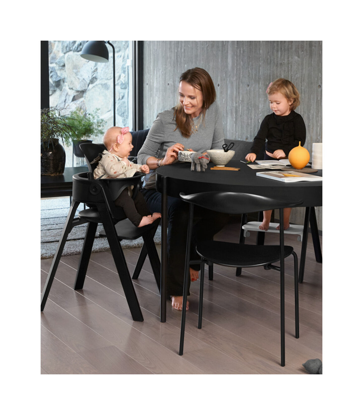 Stokke® Steps™ Beech Black with Baby Set Black. view 10