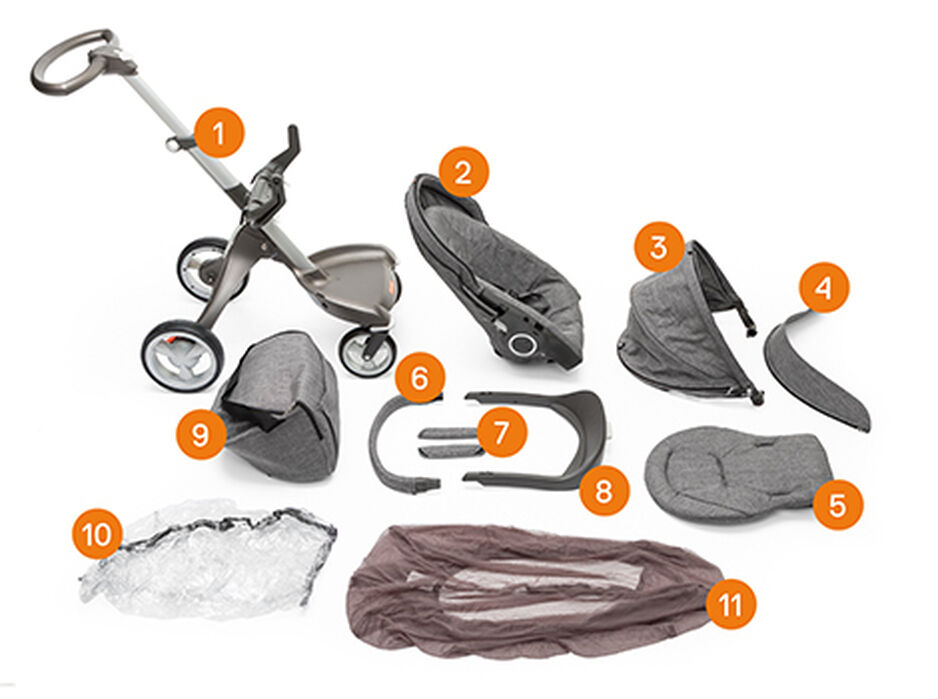 Stokke® Xplory® complete. Items included.