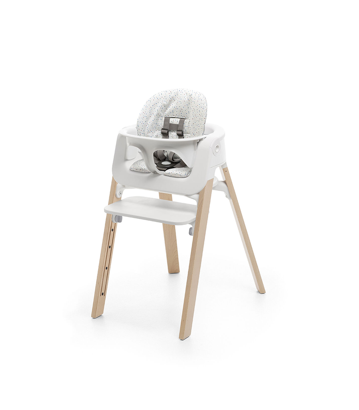 Stokke® Steps™ Natural, with Baby Set White and Cushion Soft Sprinkle.