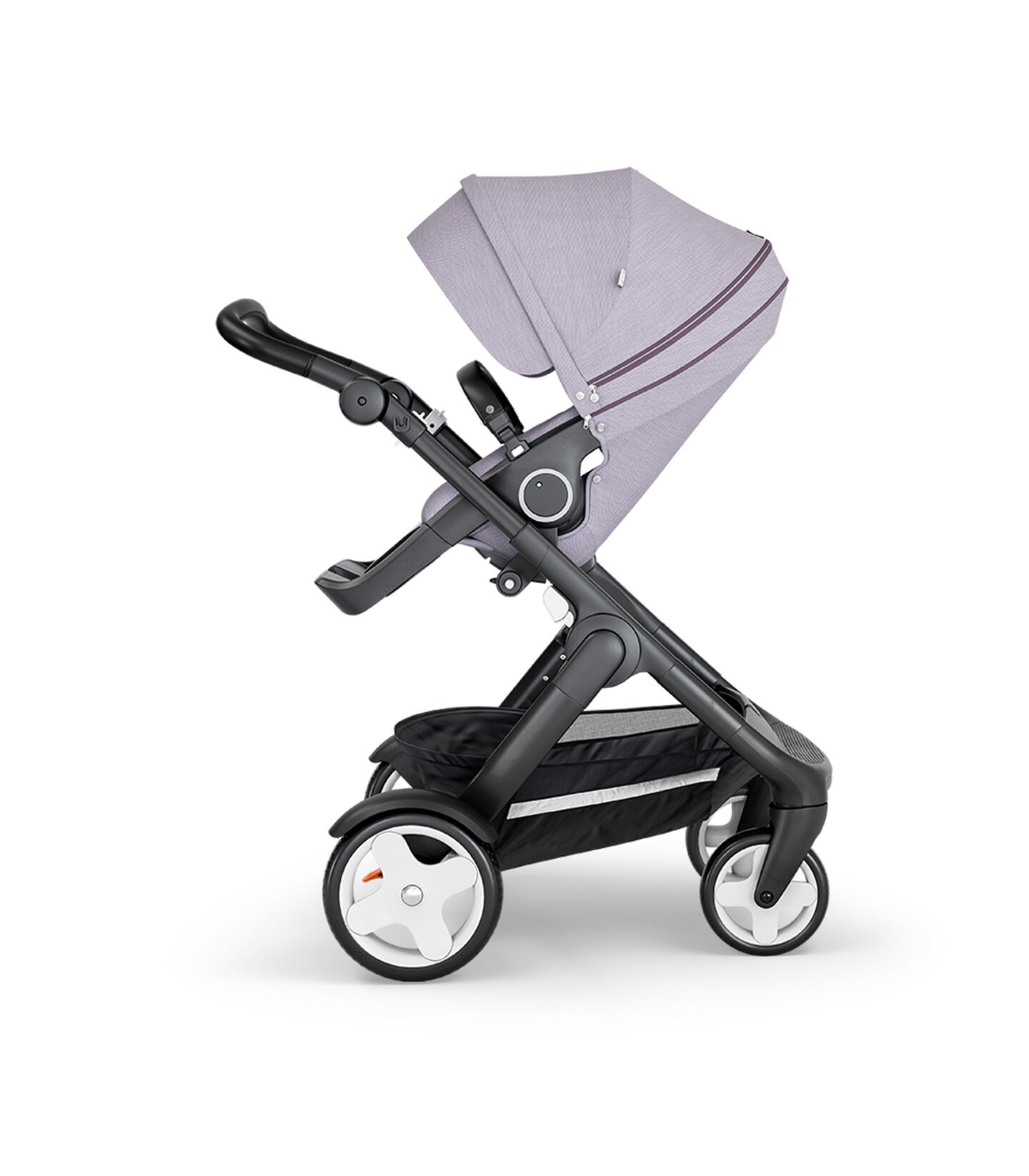 Stokke® Trailz™ with Black Chassis, Black Leatherette and Classic Wheels. Stokke® Stroller Seat, Brushed Lilac