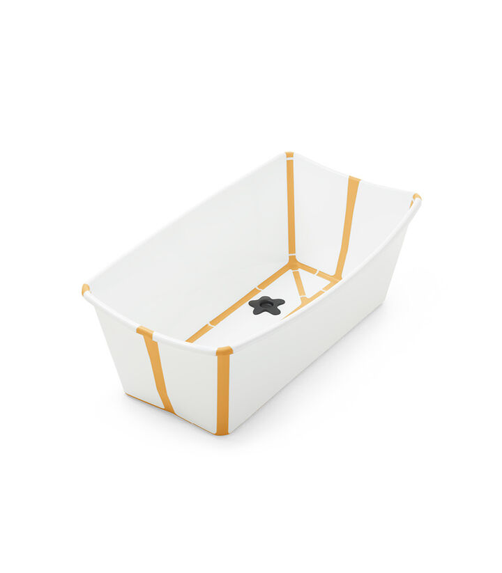Stokke® Flexi Bath® bath tub, White Yellow. Open. view 1