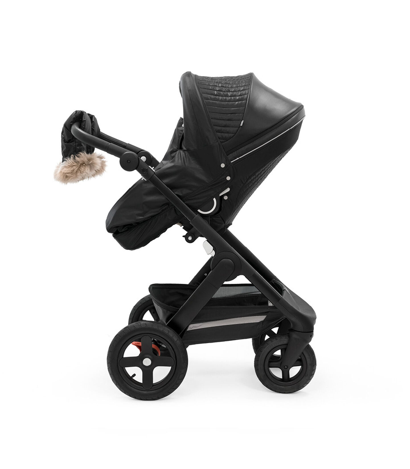 Stokke® Trailz™ Black Chassis with Stokke® Stroller Seat and Onyx Black Winter Kit. view 2