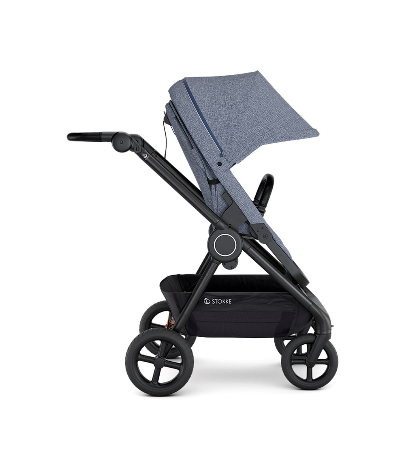 Stokke® Beat™ with Seat. Blue Melange. Forward facing.