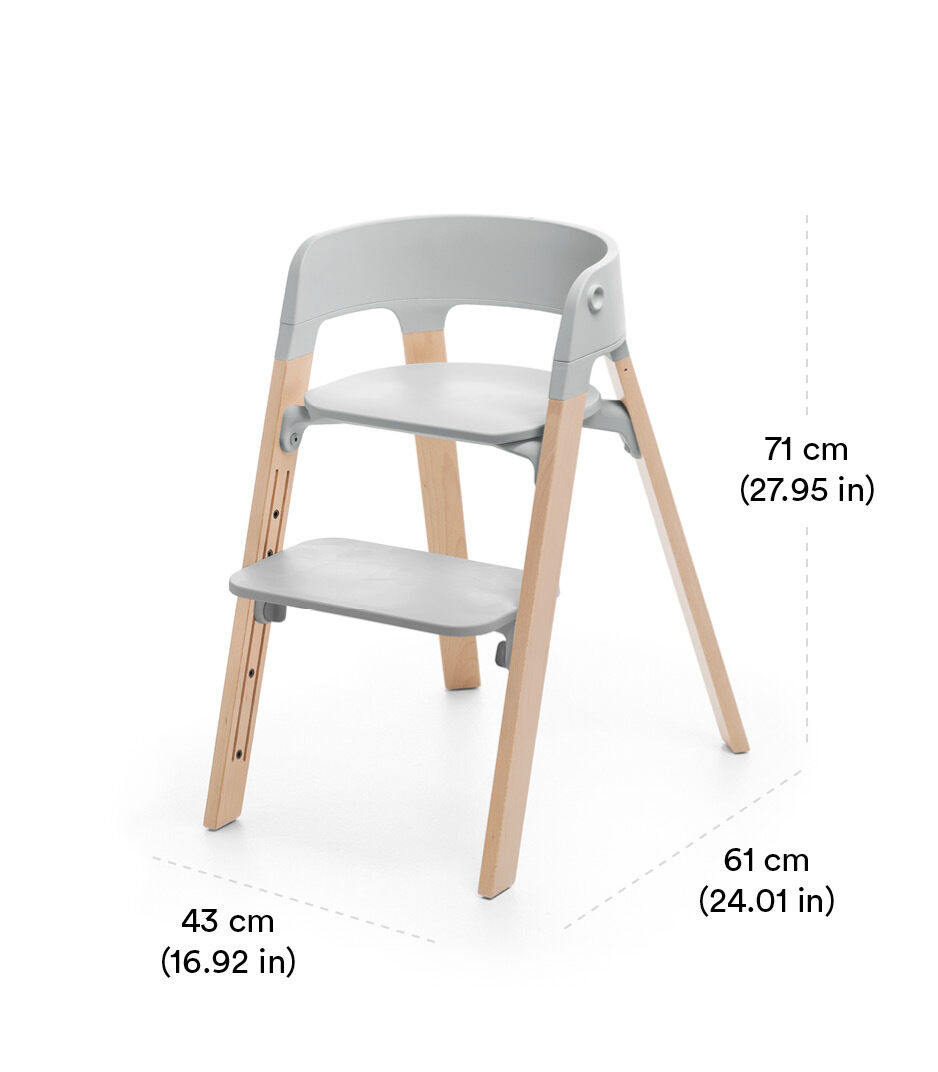 Stokke® Steps™ Chair White Seat Oak Black Legs