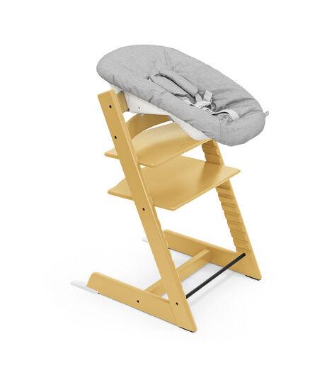 Tripp Trapp® Chair (Beech wood) Sunflower Yellow with Newborn Set Grey. view 4