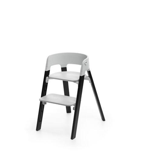 Stokke® Steps™ Oak Black with Light Grey seat.