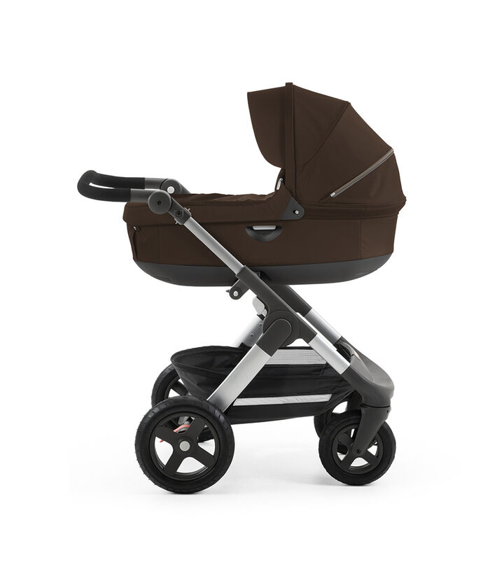 Chassis with Stokke® Stroller Carry Cot. Brown.