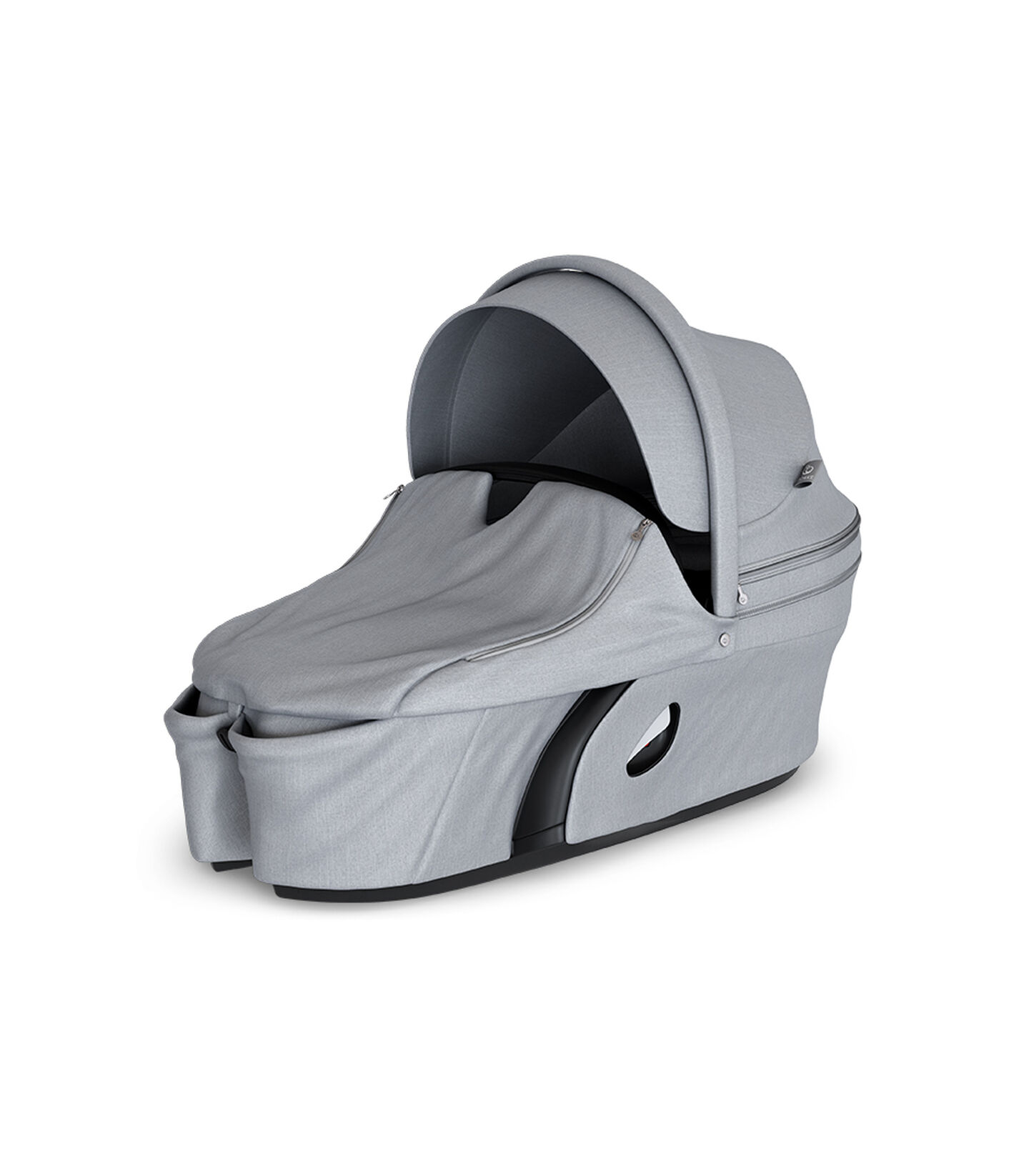 Stokke® Xplory® Carry Cot Grey Melange. With Storm Cover. view 2