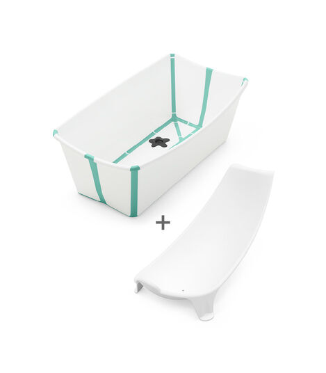 Stokke® Flexi Bath® Bundle - Bath Tub and Newborn Support, White Aqua.